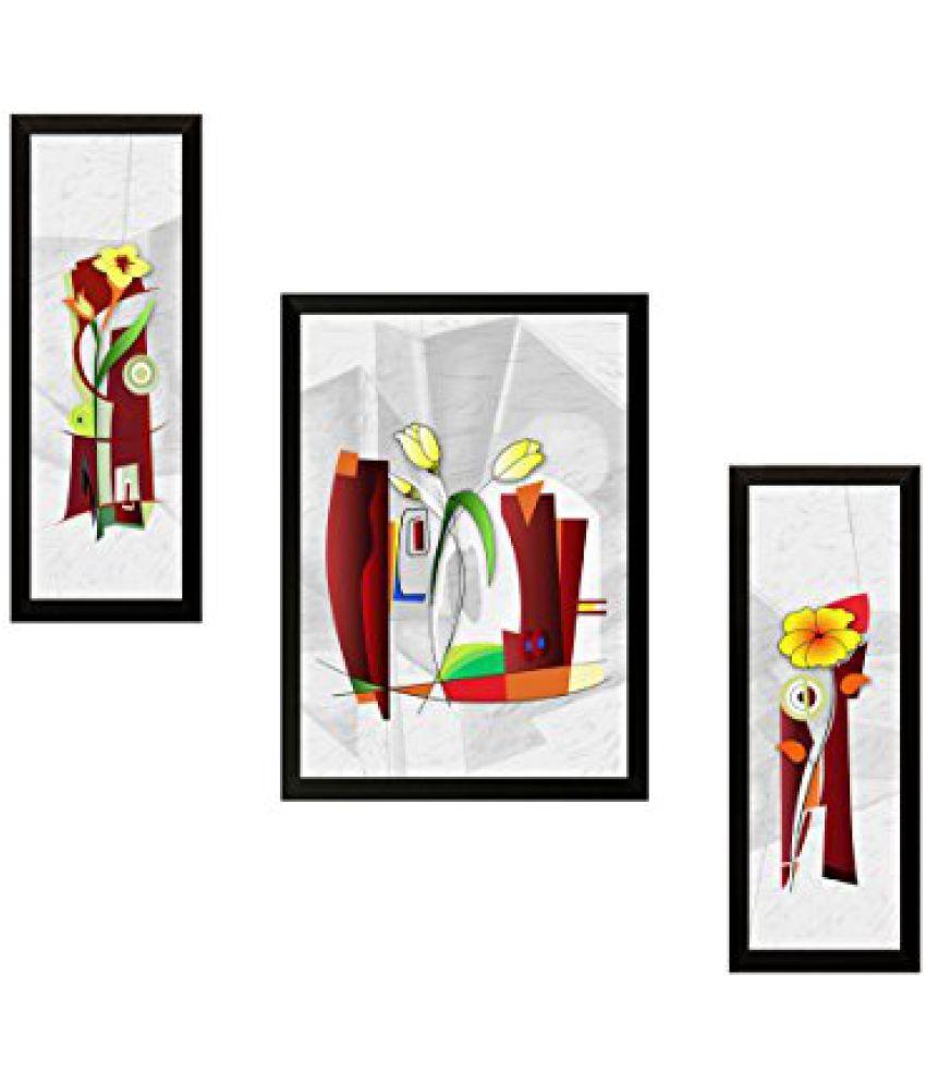SAF 'Flower Floral' Painting (Synthetic, 35 cm x 3 cm x 50 cm, SAF25)