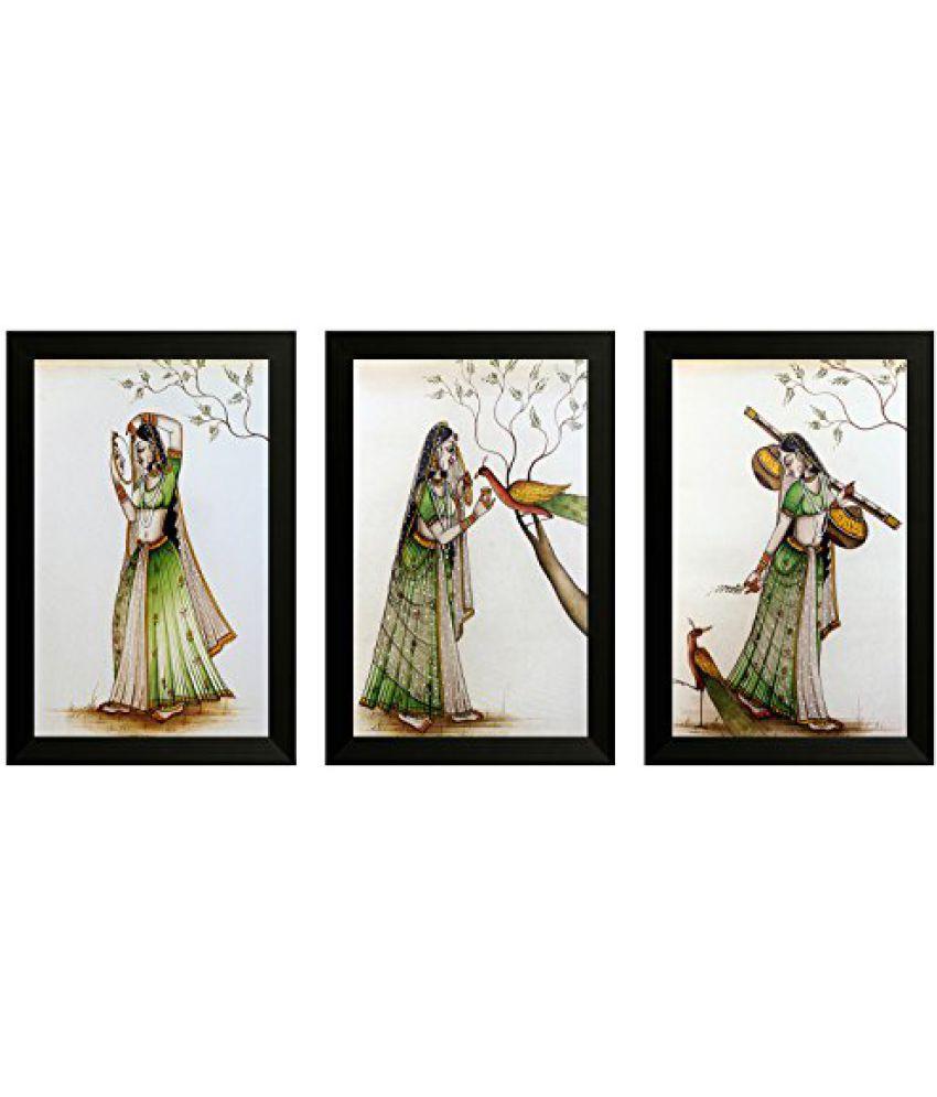 SAF Set Of 3 Traditional Art Painting (SANFO833, 20 cm x 3 cm x 30 cm)