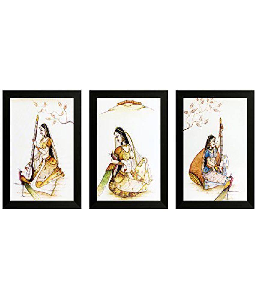 SAF Set Of 3 Traditional Art Painting (SANFO827, 20 cm x 3 cm x 30 cm)