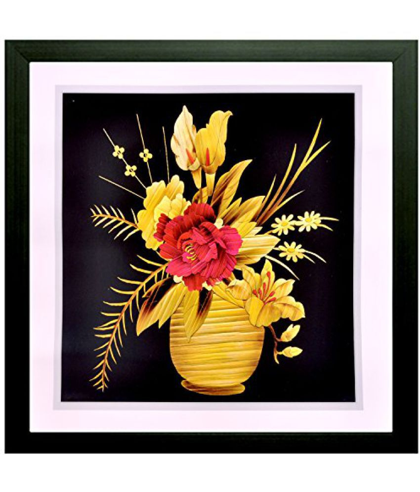 SAF Special Effect Textured Floral with UV Print Painting (SANFO180, 25 cm x 3 cm x 25 cm)
