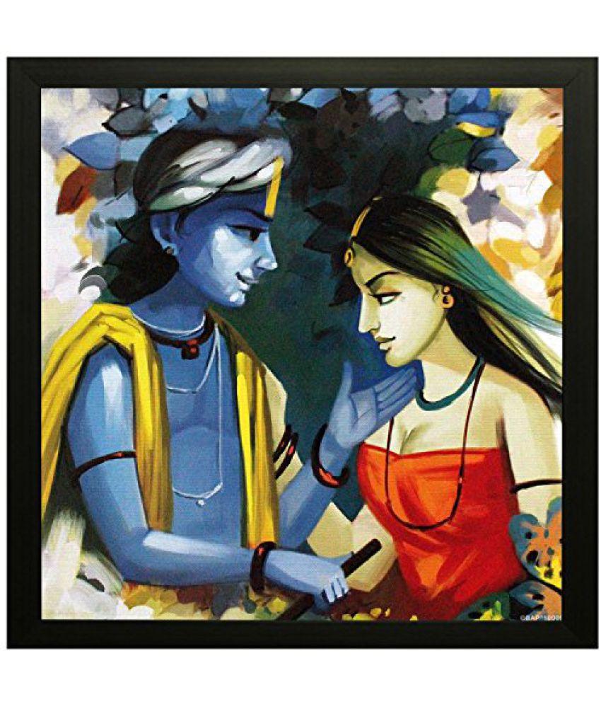 SAF Special Effect Textured Radhey Krishna Ji Painting (SANFO171, 30 cm x 3 cm x 30 cm)