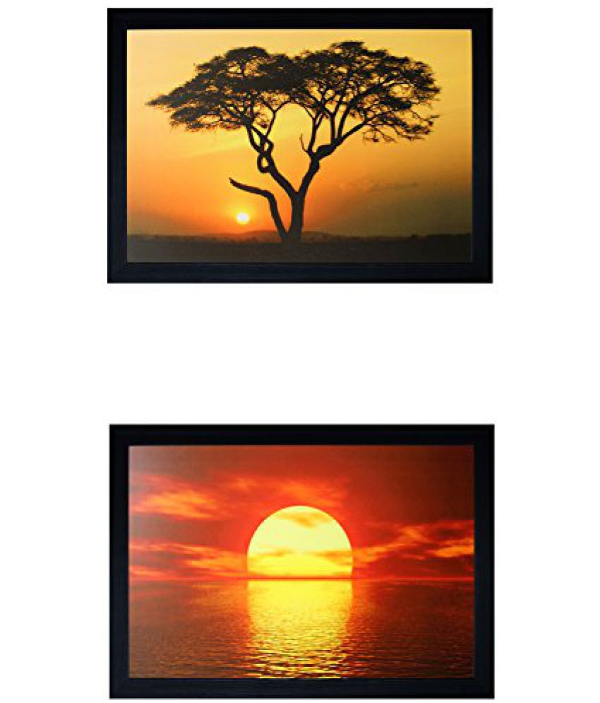 SAF Special Effect Textured SunRise UV Print Painting (SANFO286, 30 cm x 3 cm x 30 cm)
