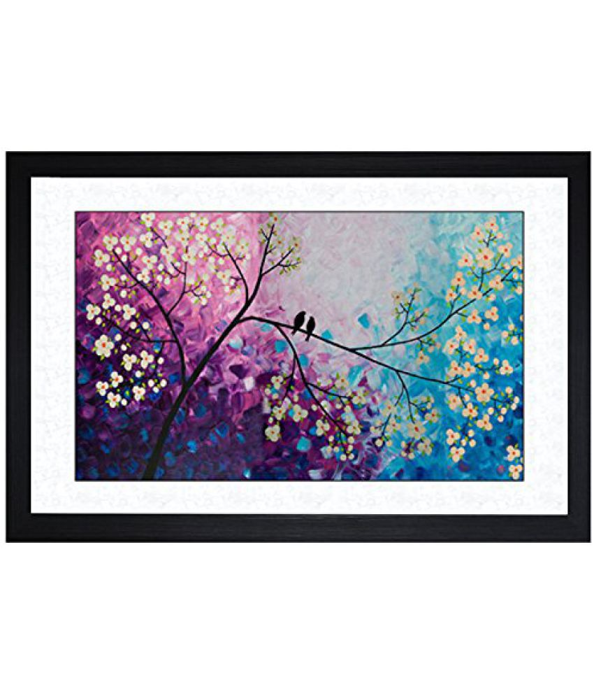 SAF Textured Print with UV Framed Reprint Painting (SANFO737, 30 cm x 3 cm x 45 cm)