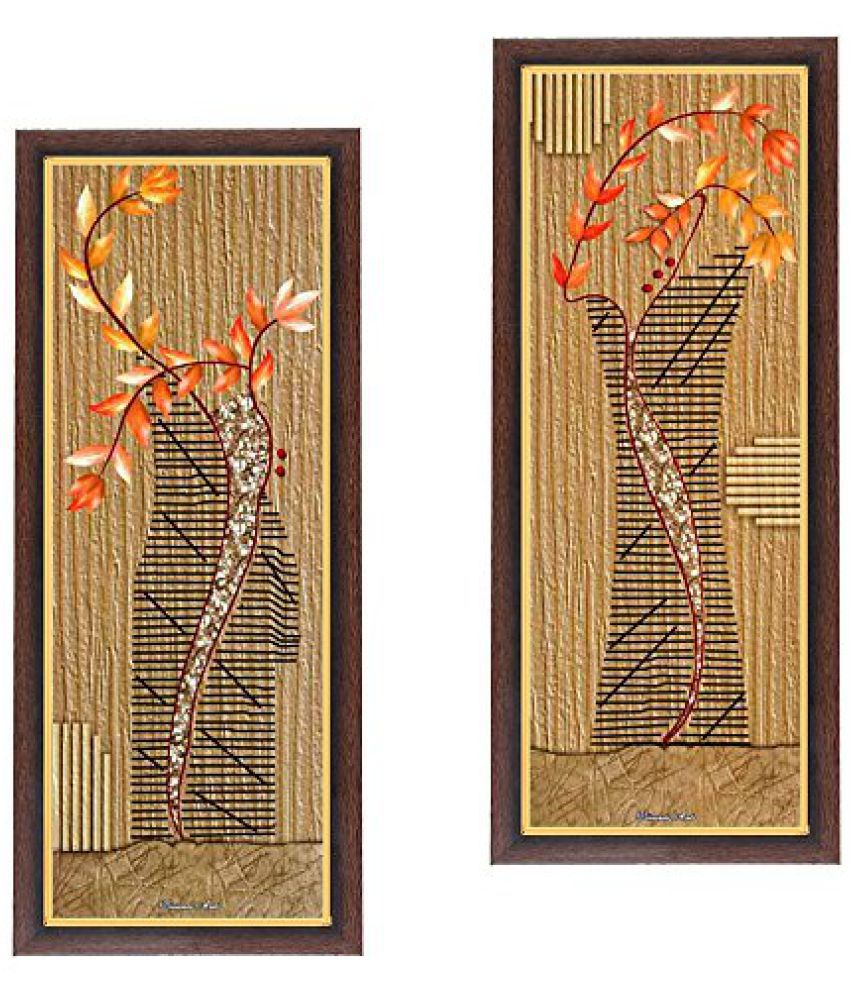 Wens Botanical MDF Wall Art (28 cm x 13.5 cm x 1 cm, Set of 2, WSPC-6014)