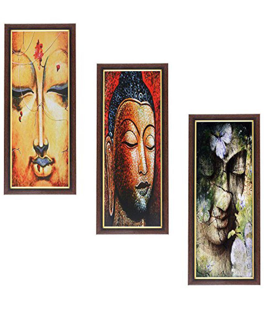 Wens Buddha MDF Wall Art (43 cm x 18 cm x 1 cm, Set of 3)