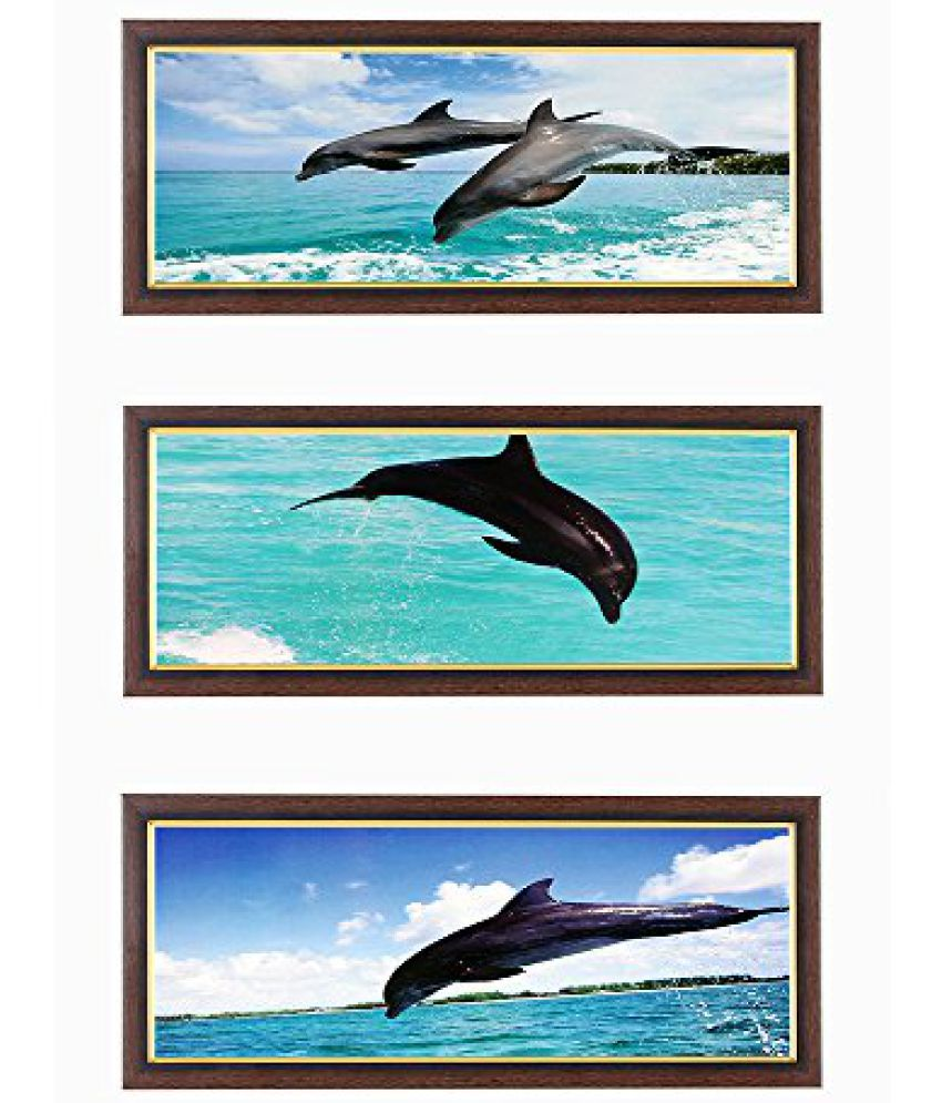 Wens Dolphin Jumping in Sea MDF Wall Art (43 cm x 18 cm x 1 cm, Set of 3)
