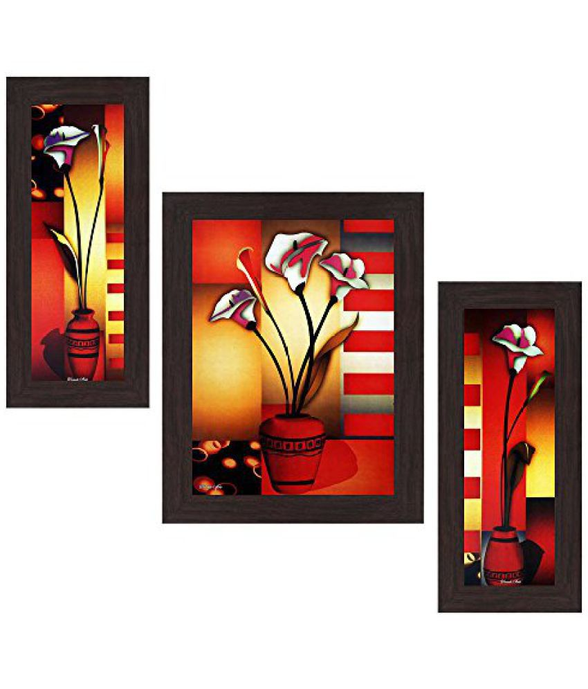 Wens Floral MDF Wall Art (14.5 cm x 29 cm x 1 cm, Set of 3, WSP-4173)
