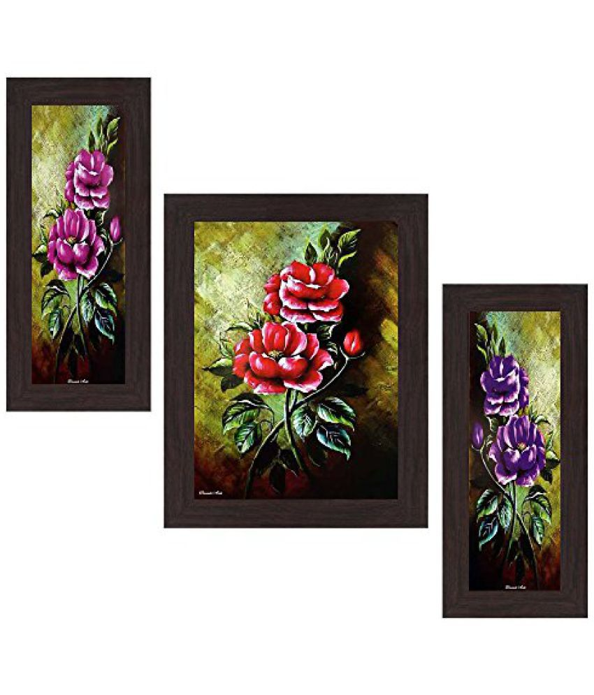 Wens Flowers MDF Wall Art (14.5 cm x 29 cm x 1 cm, Set of 3, WSP-4179)