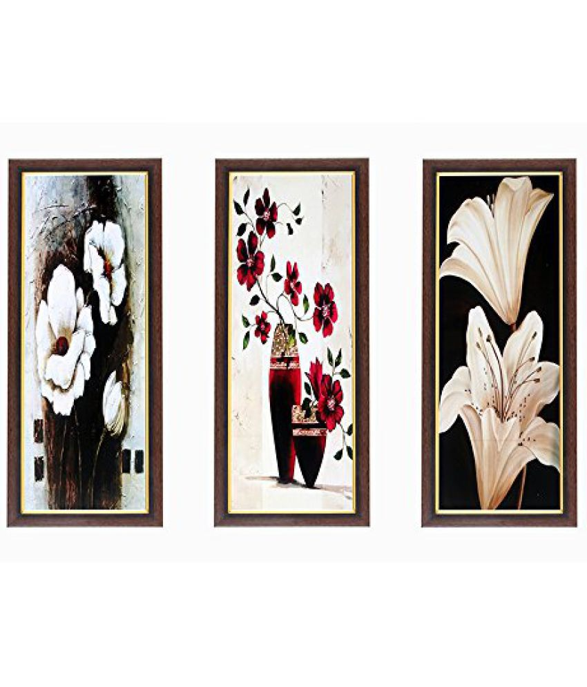 Wens Flowers View MDF Wall Art (28 cm x 13.5 cm x 1 cm, Set of 3)
