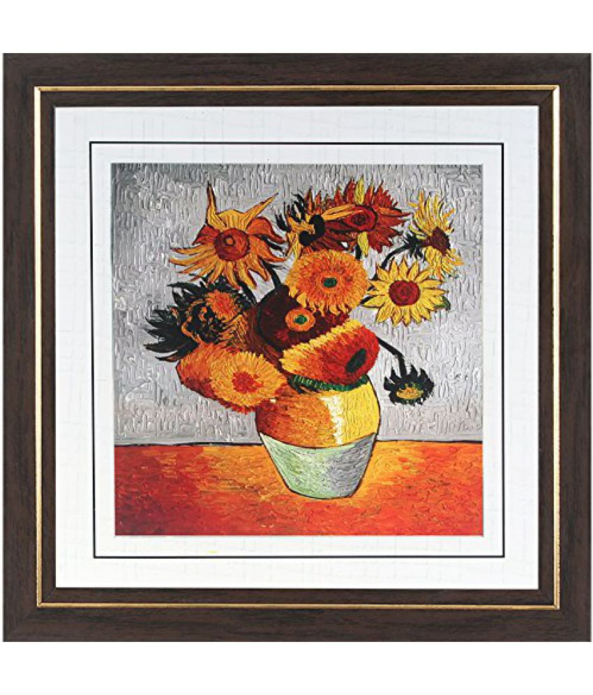 Wens MDF Flower In A Pot Wall Painting - 14 x 14 Inch, Multicolour