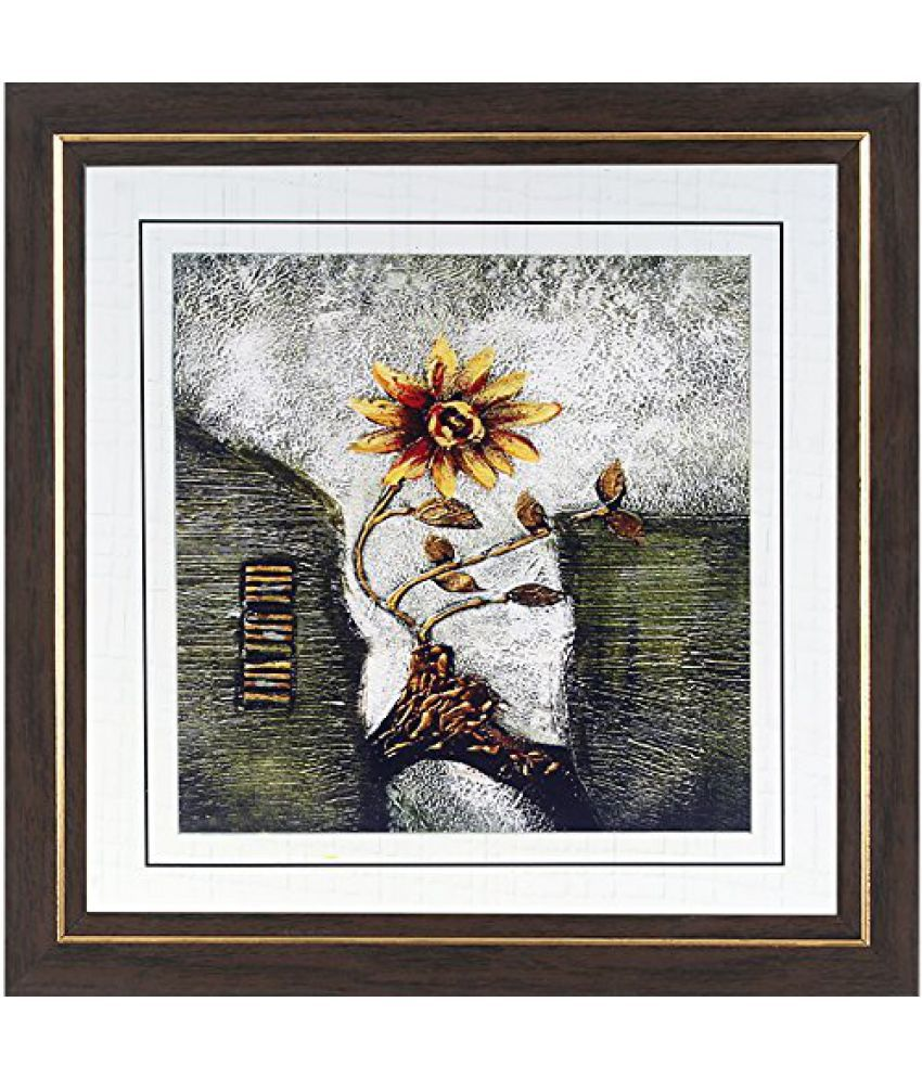 Wens MDF Sunflower Antique Painting - 14 x 14 Inch, Multicolour