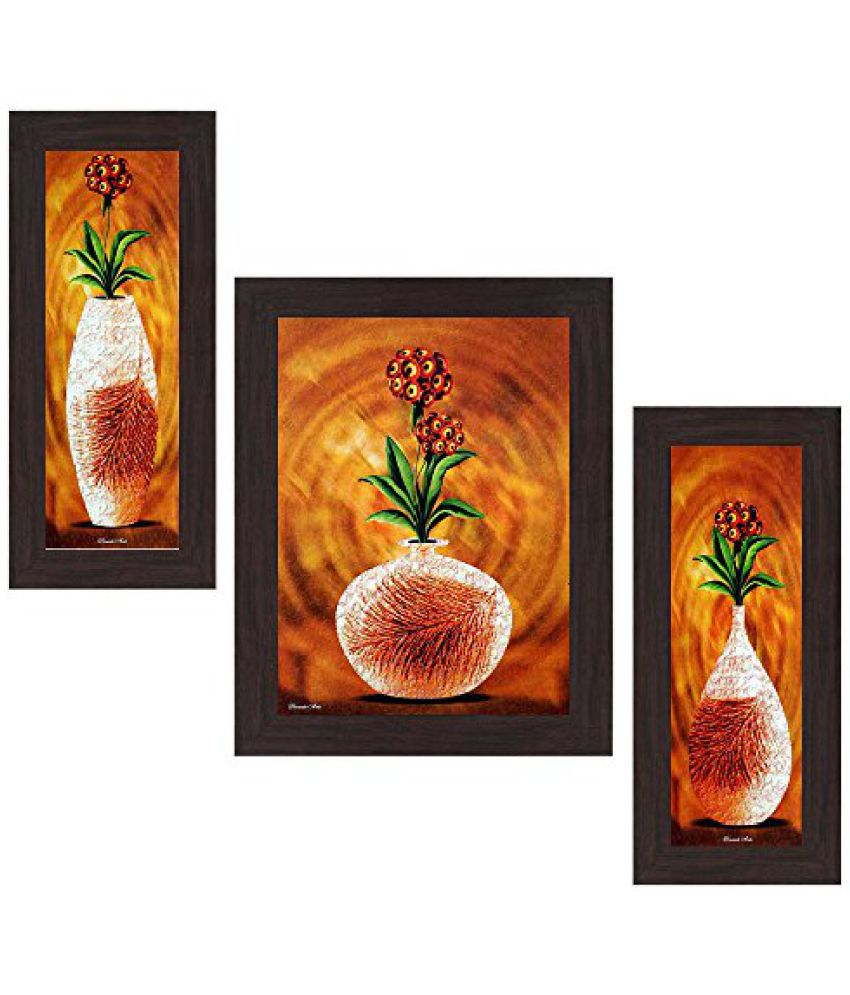 Wens Make it Up with Flowers MDF Wall Art (14.5 cm x 29 cm x 1 cm, Set of 3, WSP-4199)