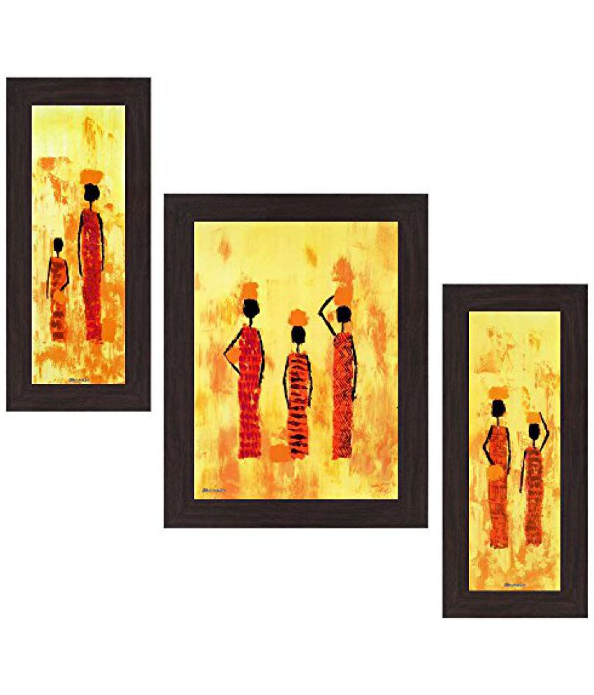 Wens People MDF Wall Art (14.5 cm x 29 cm x 1 cm, Set of 3, WSP-4187)