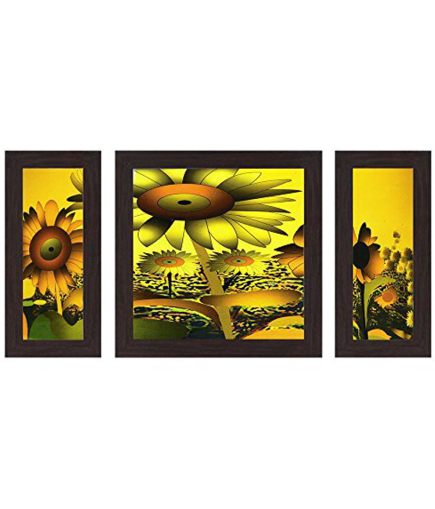 Wens Superb Flower MDF Wall Art (14.5 cm x 29 cm x 1 cm, Set of 3)