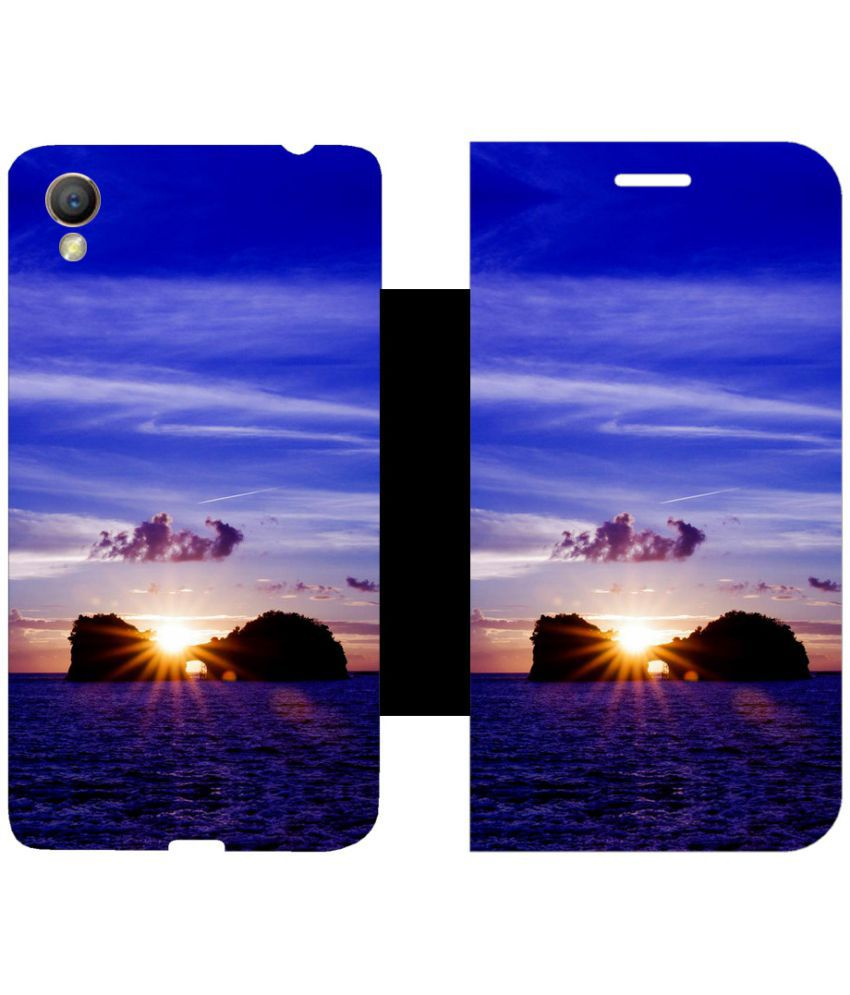 Oppo A37 Flip Cover by Skintice - Blue
