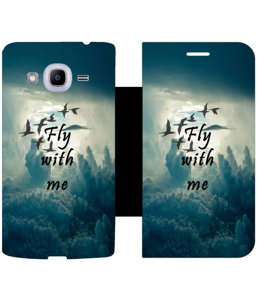 Samsung Galaxy J2 (2016) Flip Cover by Skintice - Black