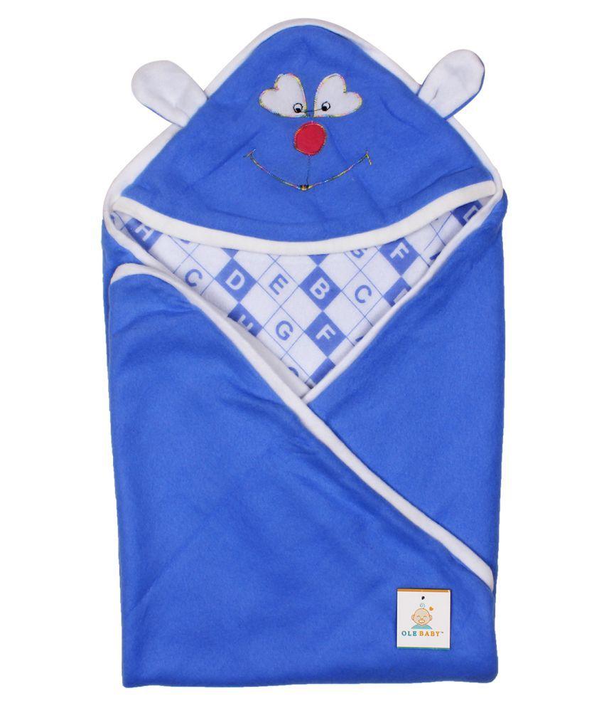 Ole Baby Blue Cotton Baby Wrap cum blanket ( 33 cm × 33 cm - 1 pcs)