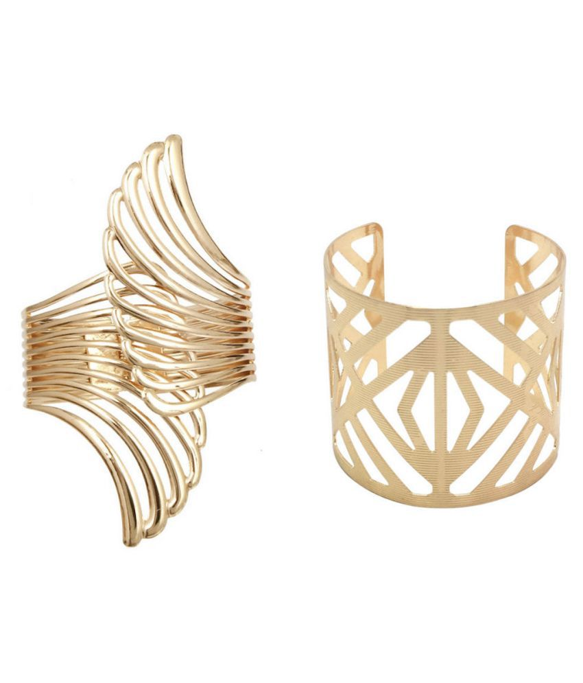 FashBlush Forever Glam Combo Of Golden Hand Cuff (Set of 2)