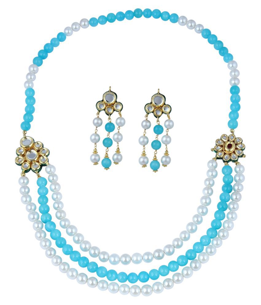 Pearl Necklace Set Made Up Of  Three Strand With Kundan Meena Pendant And Fascinating Earring
