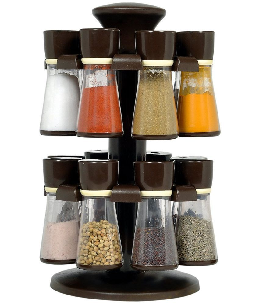 Magikware brown revolving spice rack container 16 pcs polyproplene spice container set of 11 20