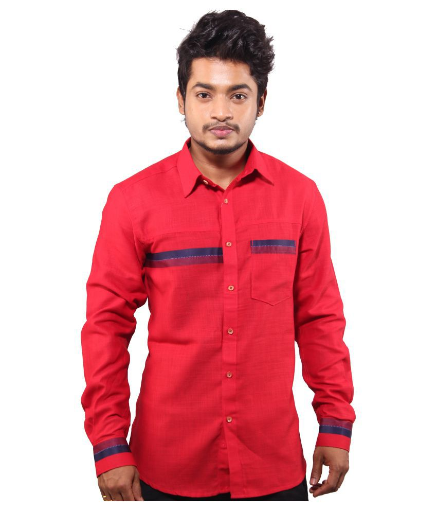 favio Red Casual Slim Fit Shirt