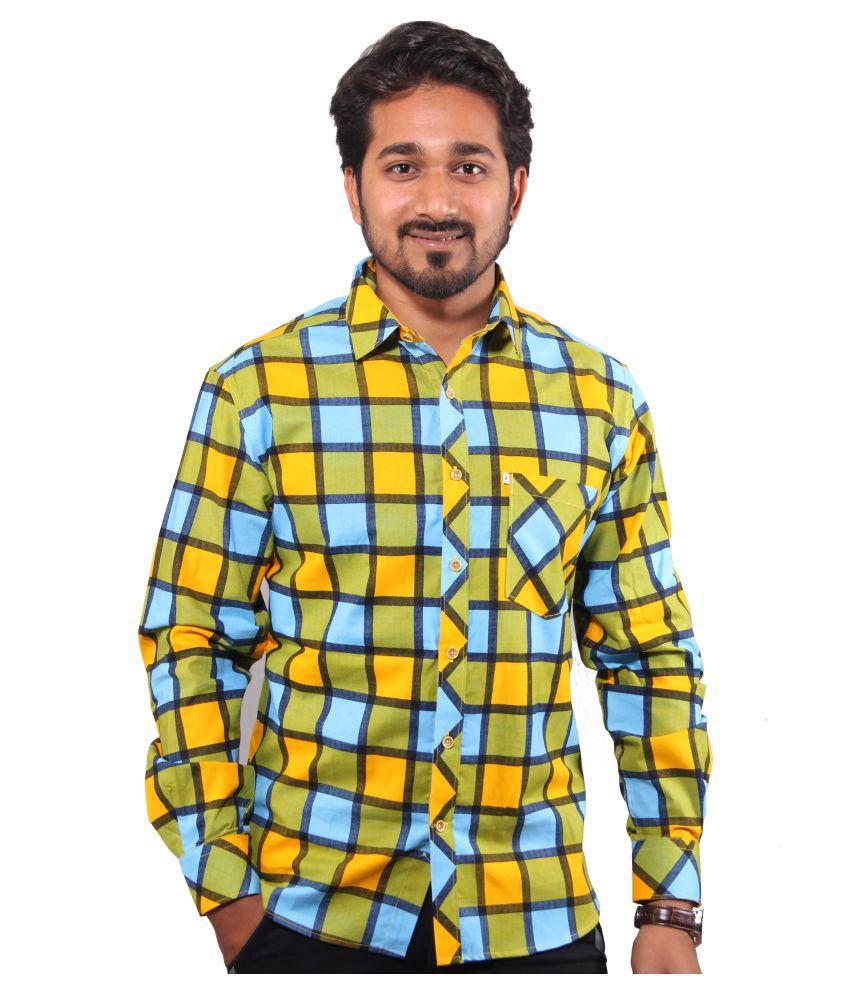 favio Yellow Casual Slim Fit Shirt