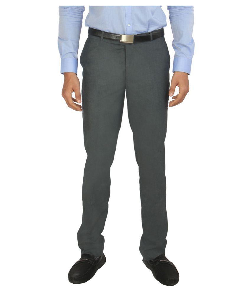 zido Blue Slim -Fit Flat Trousers