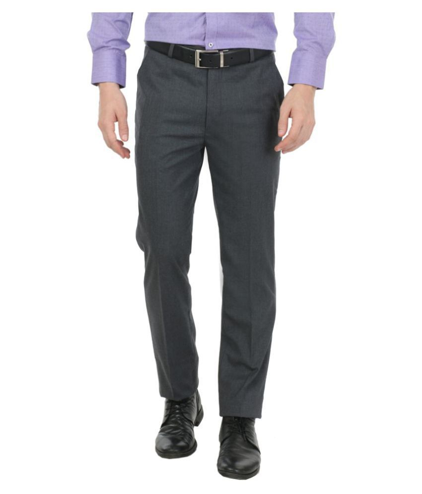 zido Grey Slim -Fit Flat Trousers