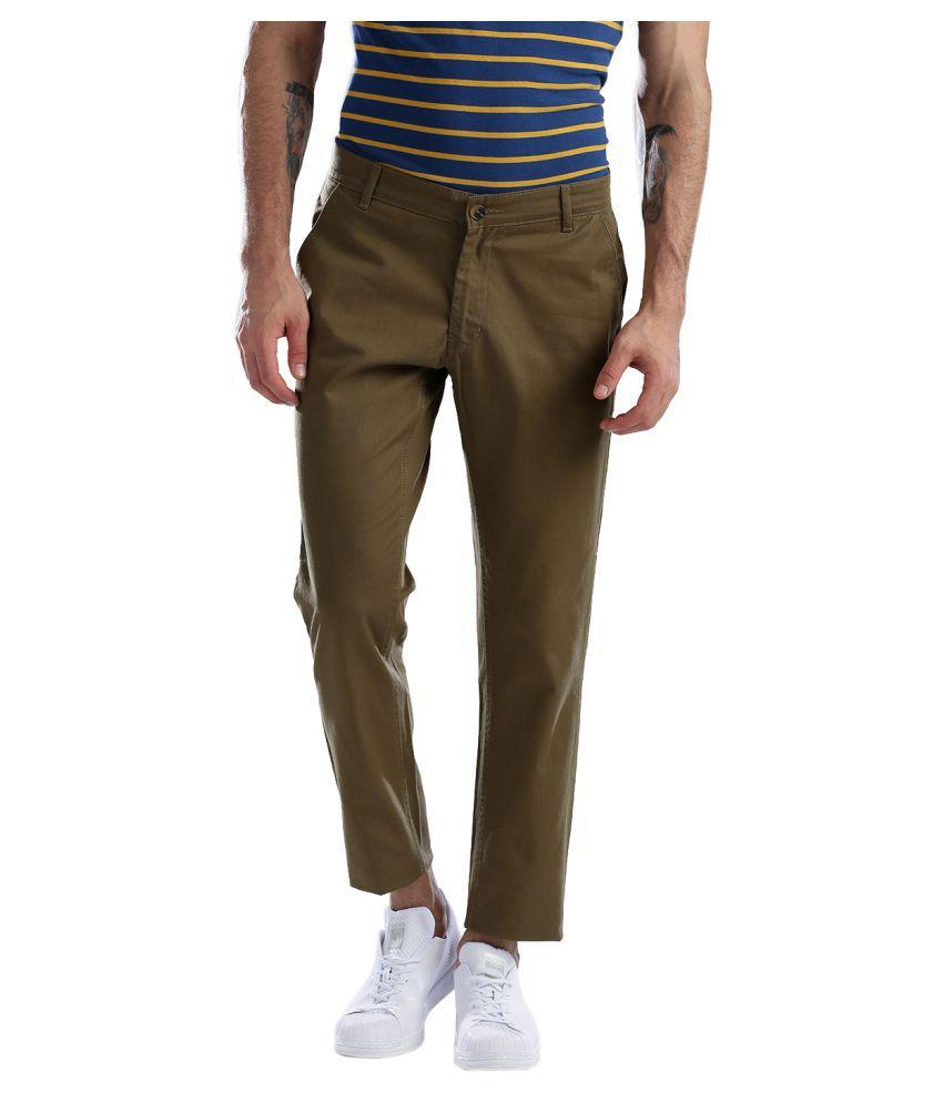 Hubberholme Brown Slim -Fit Flat Chinos