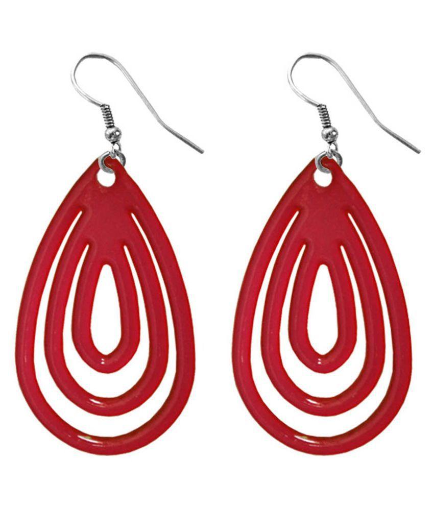 Pihu Red Alloy Fish Hook Hanging Earrings