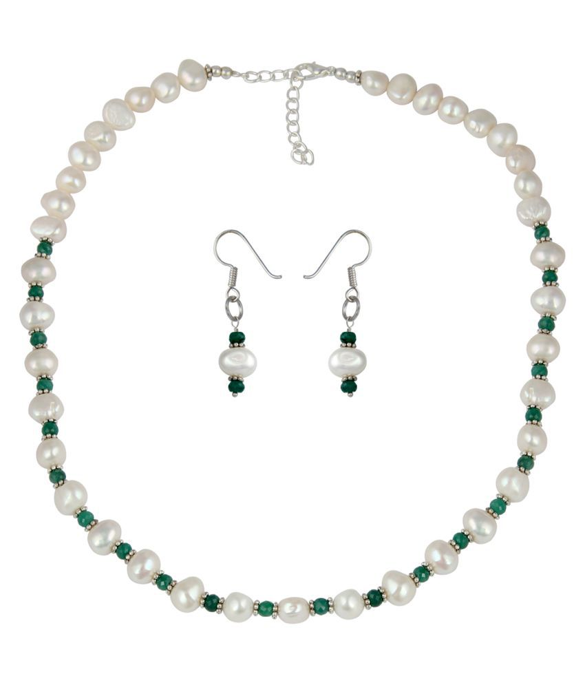 Pearl Necklace Set Patterned Faceted Roundel and Nuggets Shape Stone With White And Green Stones And Delicate Earrings