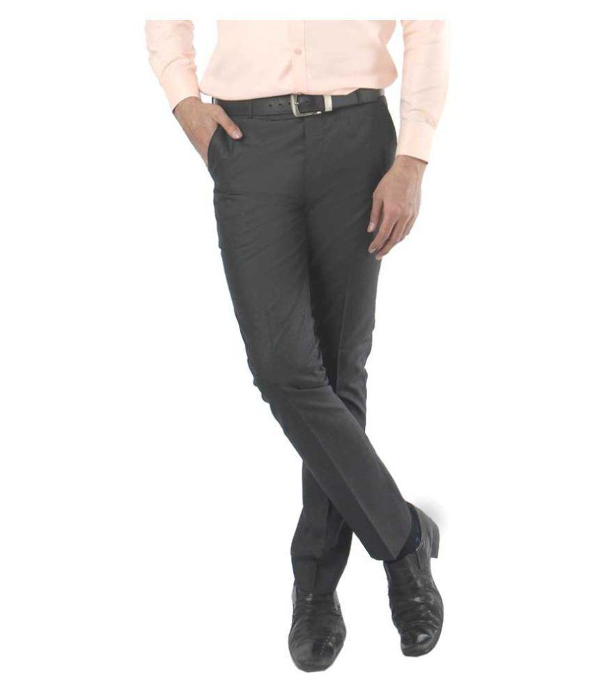 zido Grey Slim -Fit Flat Trousers