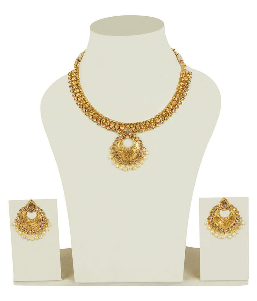 MUCH MORE Brass Made South Indian Style Gold Plated Polki Necklace Set For Women