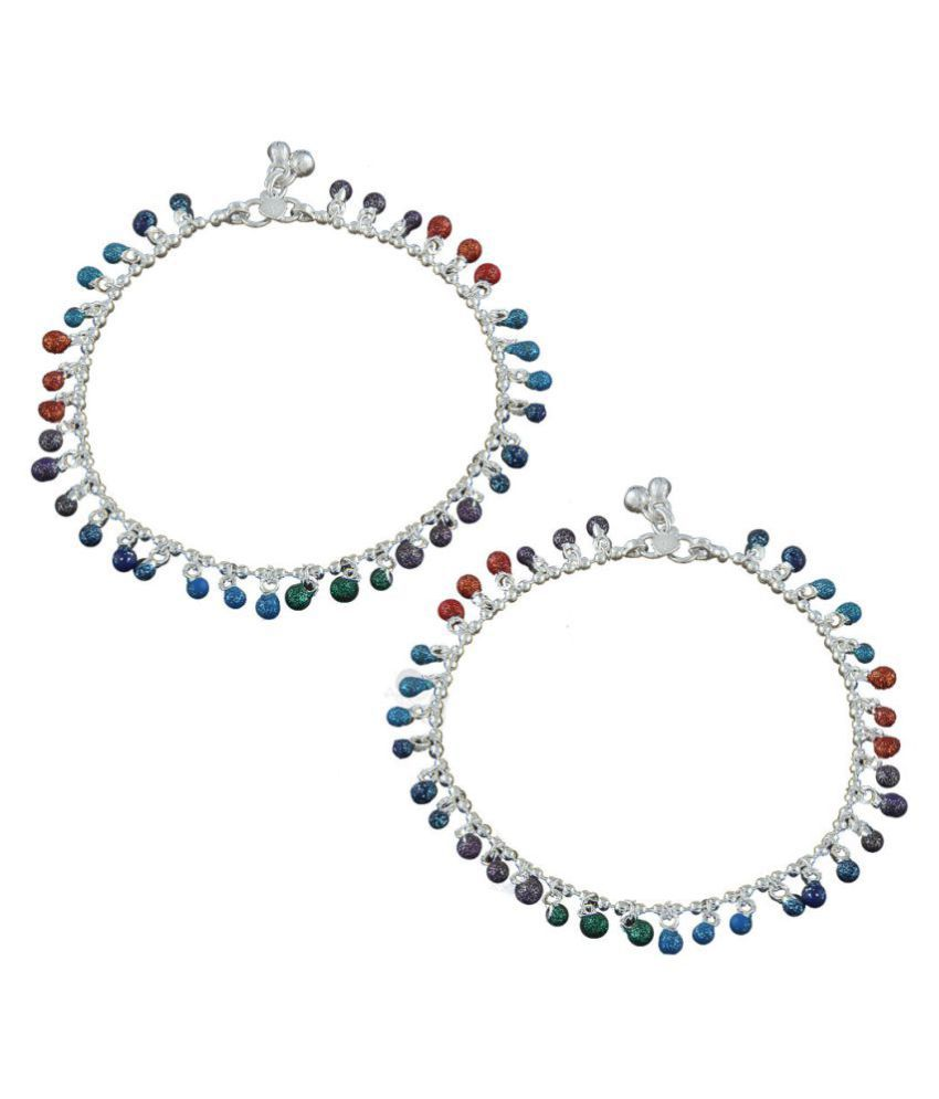 Anuradha Art Silver Finish Styled With Multi Colour Beads Traditional Anklet/Payal For Women/Girls