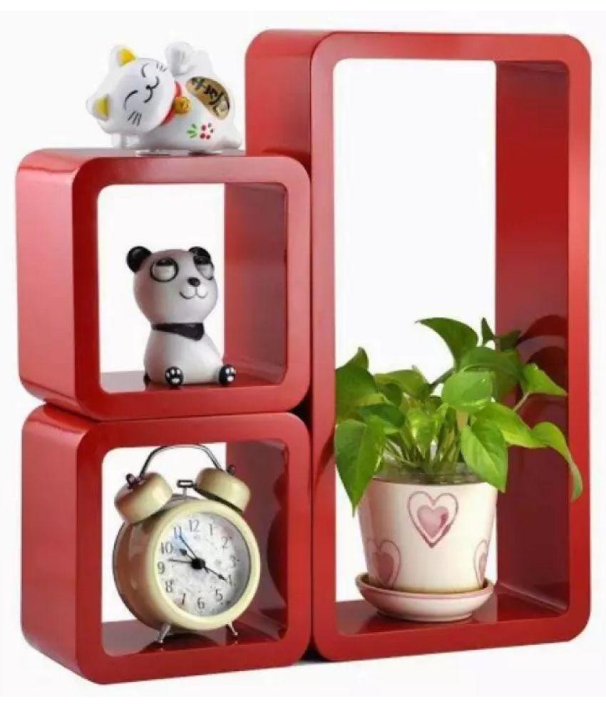 Onlineshoppee Floating Shelf/ Wall Shelf / Storage Shelf/ Decoration Shelf Red - Pack of 3