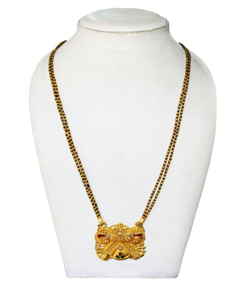 Pihu Gold & Black  Maharashtrian Gold Plated Mangalsutra