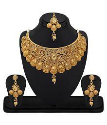 RG Fashions Zinc Gold Plated Kundan Golden Choker Necklace Set with Maang Tikka For Women