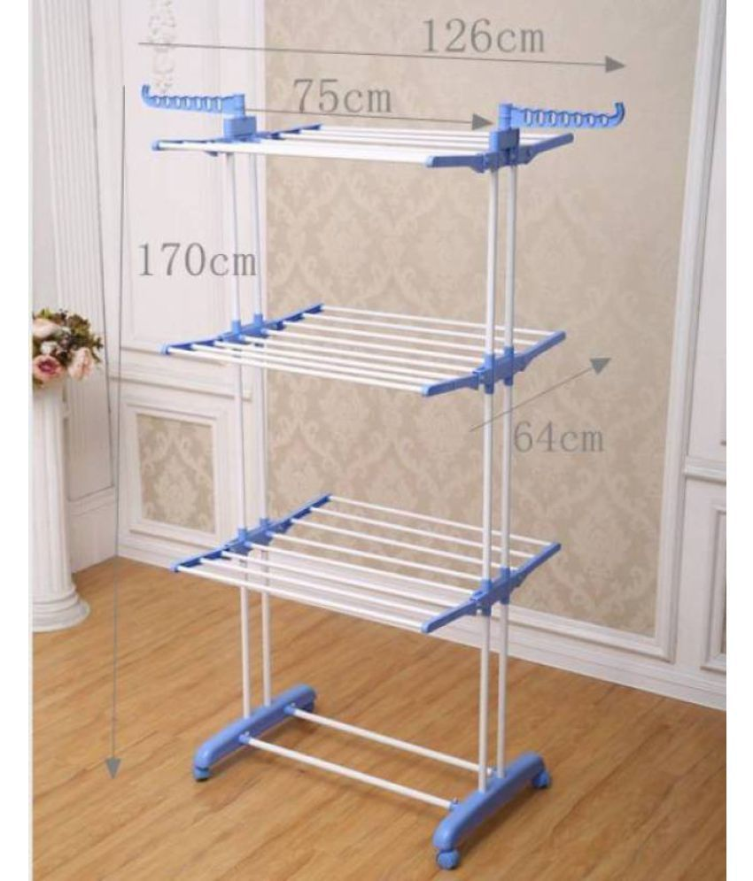 kumaka full size heavy duty double pole cloth drying stand laundry rack stand with