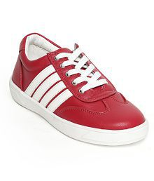 Bruno Manetti Unisex Kids Red Faux Leather Sneakers