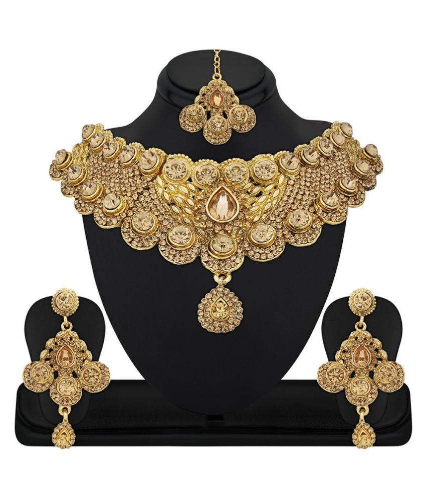 RG Fashions Golden Zinc Stones Studded Choker Necklace Set with Maang Tikka For Women