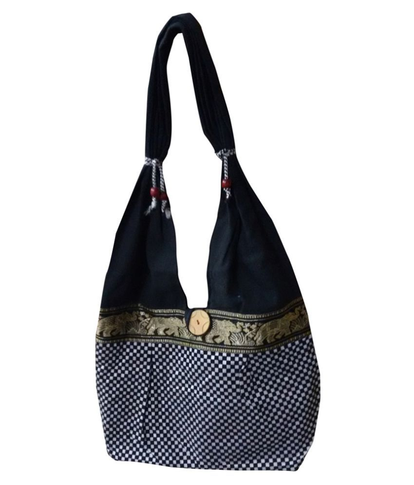 7184d62d884 FASHION BIZZ Black Canvas Cloth Jhola - Buy FASHION BIZZ Black Canvas Cloth  Jhola Online at Best Prices in India on Snapdeal