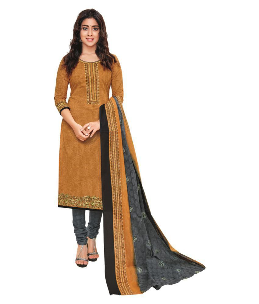 6b2beae0c Pranjul Yellow and Brown Cotton Dress Material - Buy Pranjul Yellow and  Brown Cotton Dress Material Online at Best Prices in India on Snapdeal