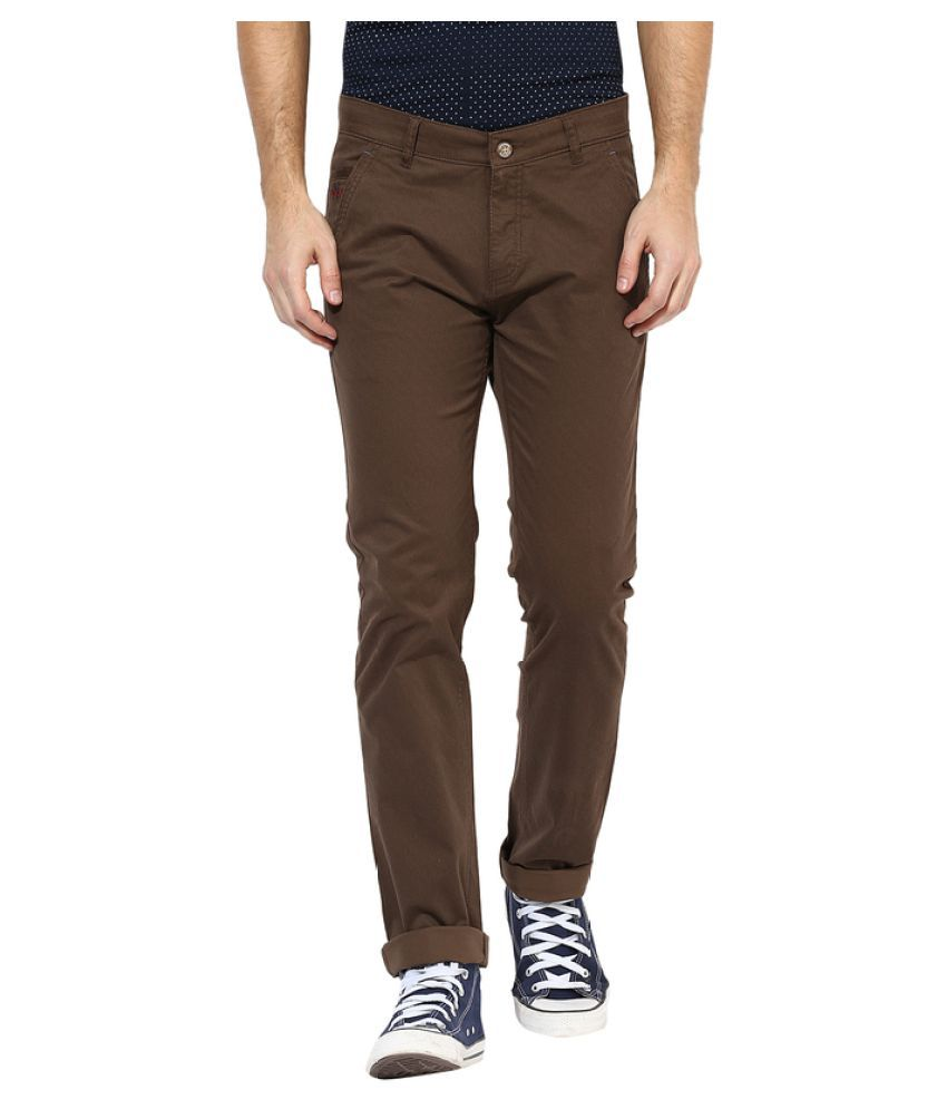 Crimsoune Club Brown Slim -Fit Flat Chinos