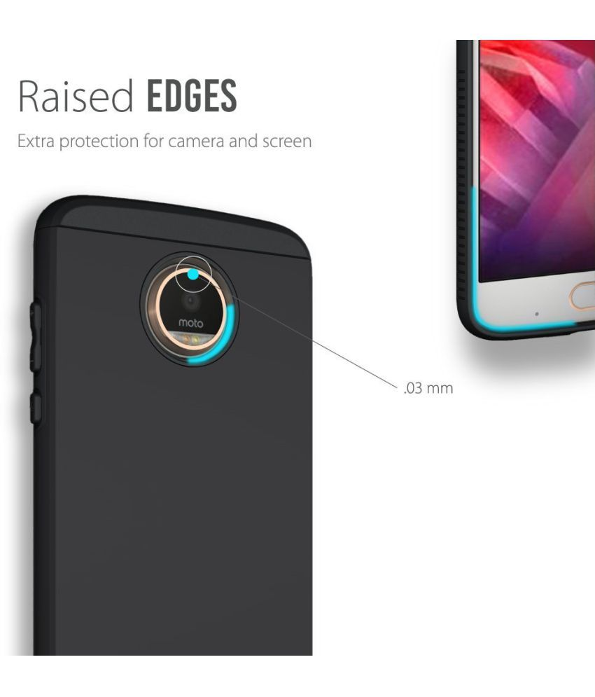new products 1b202 650cf Moto Z2 Play Plain Cases Tudia - Black - Plain Back Covers Online at ...