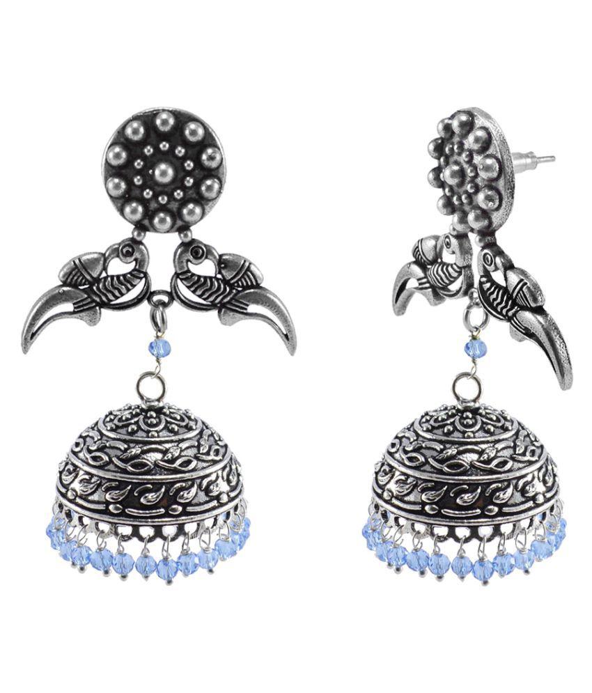 Enhanced Tanzanite Crystal And Parrot Stud Jhumka Earrings-Jaipur Traditonal Jewellery-Silvesto India PG-111644