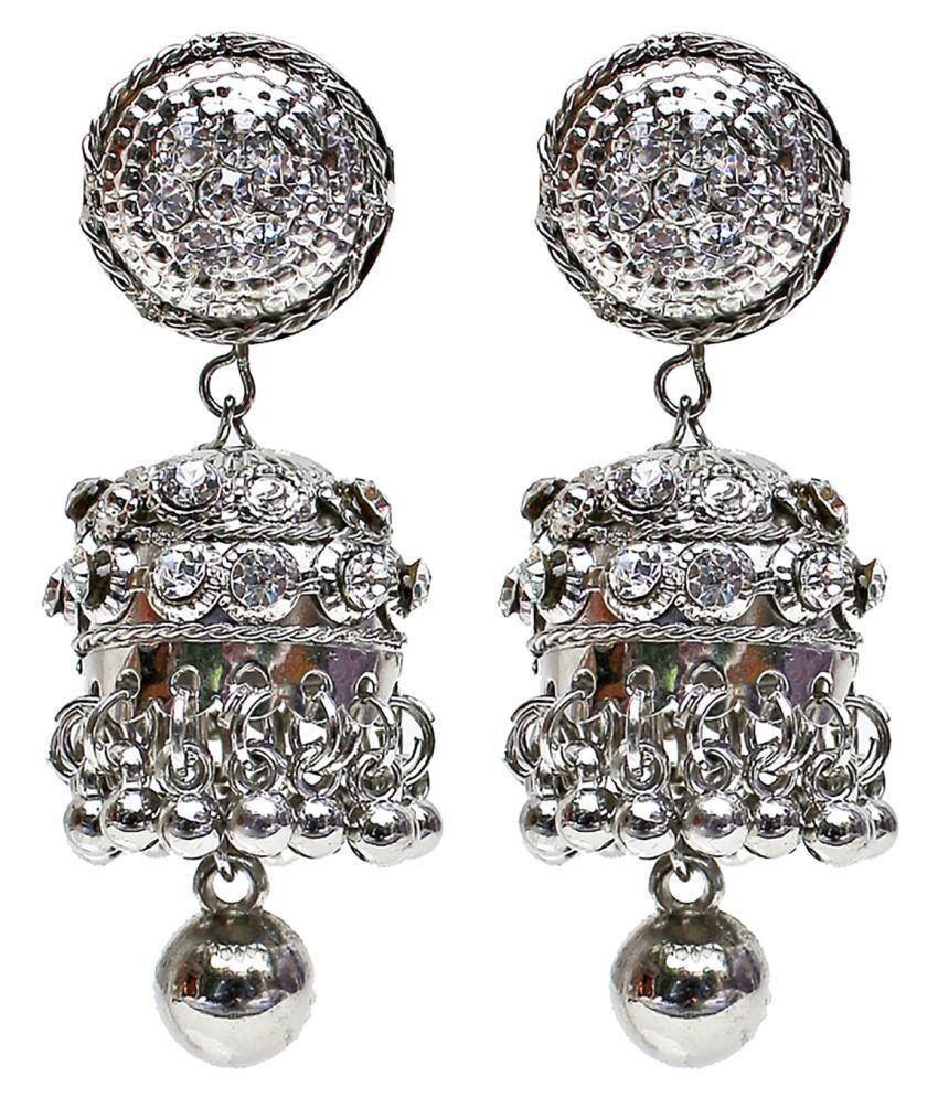 Lucky Jewellery Silver Designer Stone Partywear Jhumki