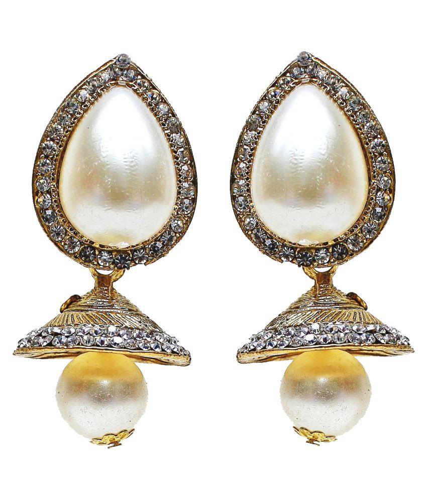 Lucky Jewellery White Pearl Stud Stone Partywear Jhumki Earring