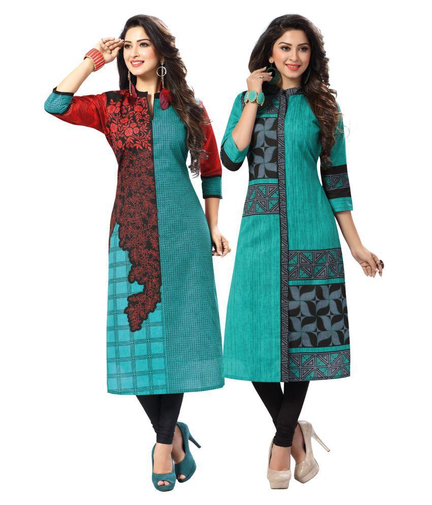 Salwar Studio Multicoloured Cotton Printed Unstitched Kurti