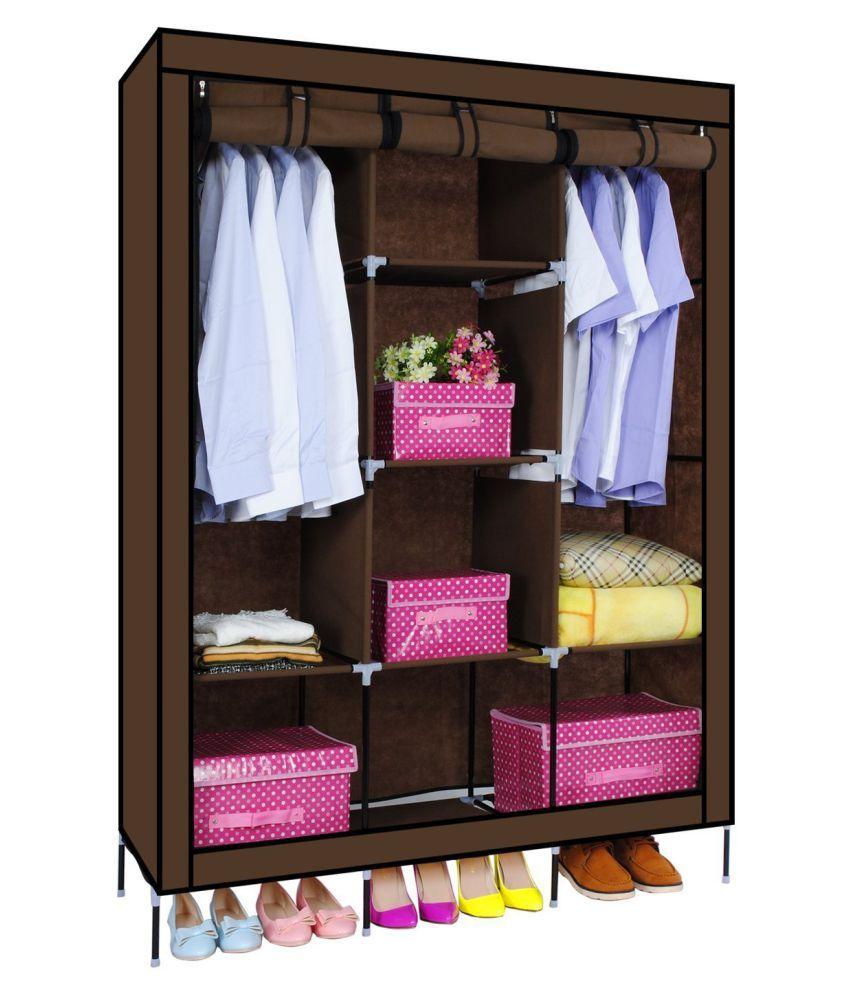 ... Wardrobe   Portable Storage Organizer Wardrobe Closet Non Woven Canvas  Folding Fabric Wardrobe Coffee ...