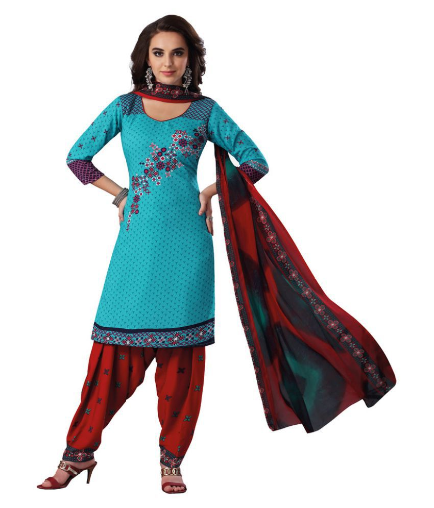 SALWAR HOUSE Green Synthetic Dress Material